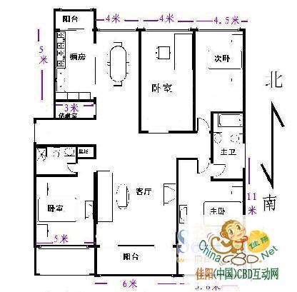 一层四室一厅房屋设计图展示